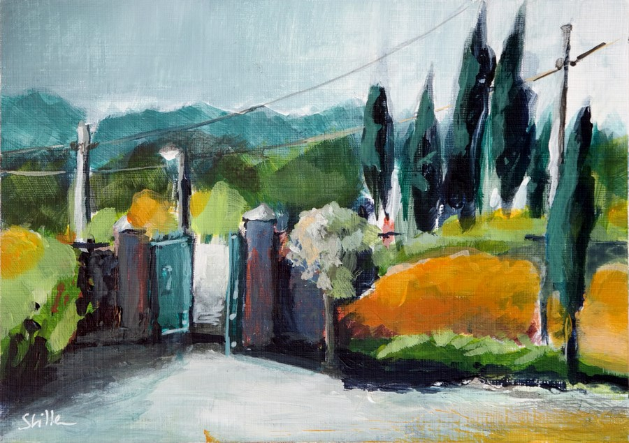 """2111 Winery Gate in acrylics"" original fine art by Dietmar Stiller"