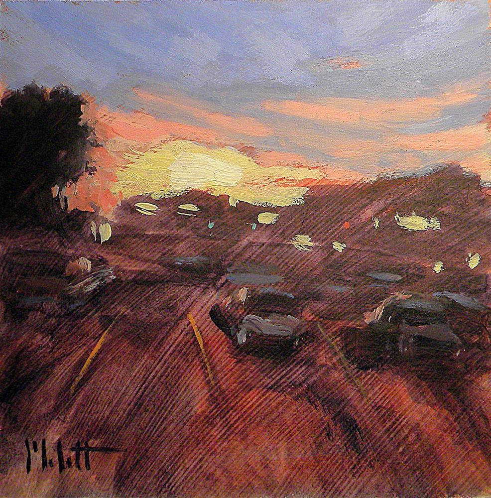 """Parking Lot Sunset Painting Contemporary Impressionism Heidi Malott"" original fine art by Heidi Malott"