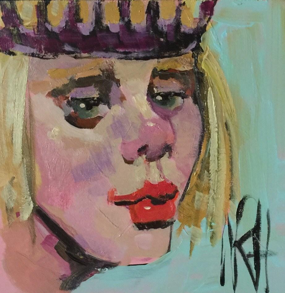 """""""Sad Queen"""" original fine art by Nancy  Rhodes Harper"""