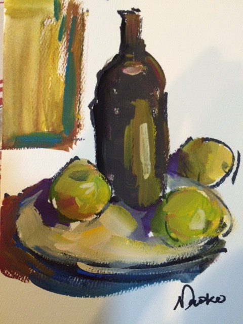 """Wine and Fruits"" original fine art by Naomi Bautista"