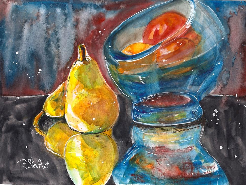 """Pears Bowl Fruit Reflections Loose Watercolor Style 8.5 x 11 by Penny StewArt"" original fine art by Penny Lee StewArt"