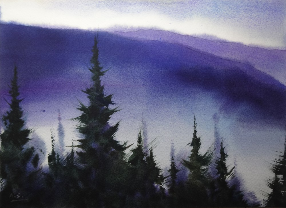 """Blue Mountain"" original fine art by Arena Shawn"