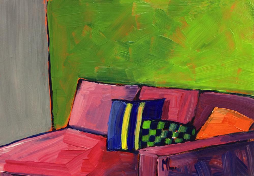 """""""Reading Corner"""" original fine art by Mónica Linares"""