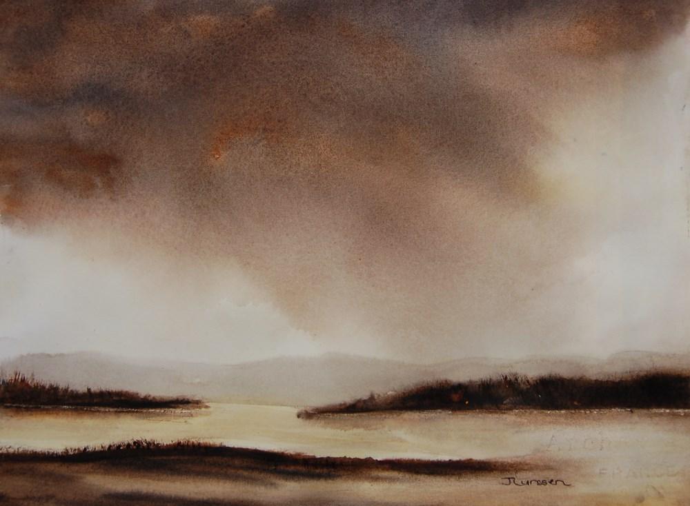 """Storm Over The Marsh"" original fine art by Jean Lurssen"