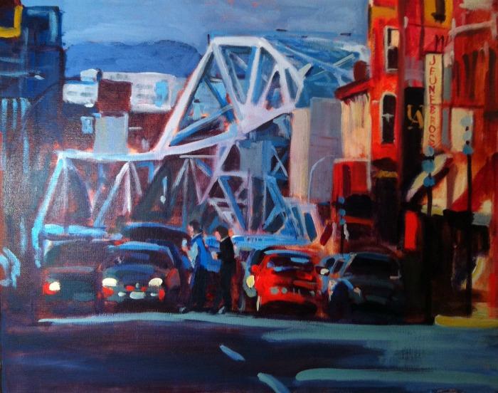 """""""Blue Bridge, acrylic on canvas, 16x20"""" original fine art by Darlene Young"""