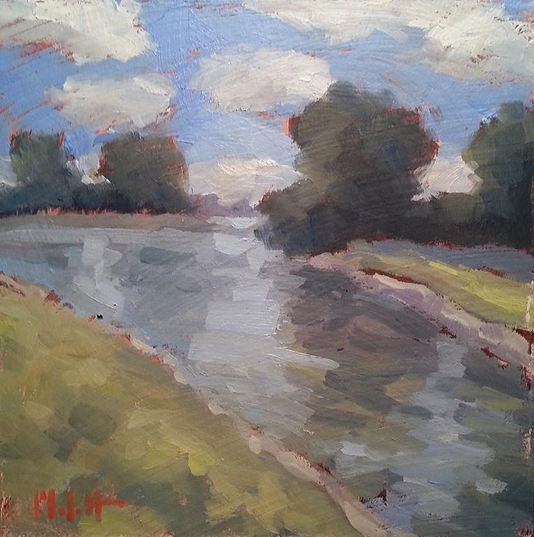 """Mirror Lake University of Saint Francis Original Oil Painting Impressionism"" original fine art by Heidi Malott"