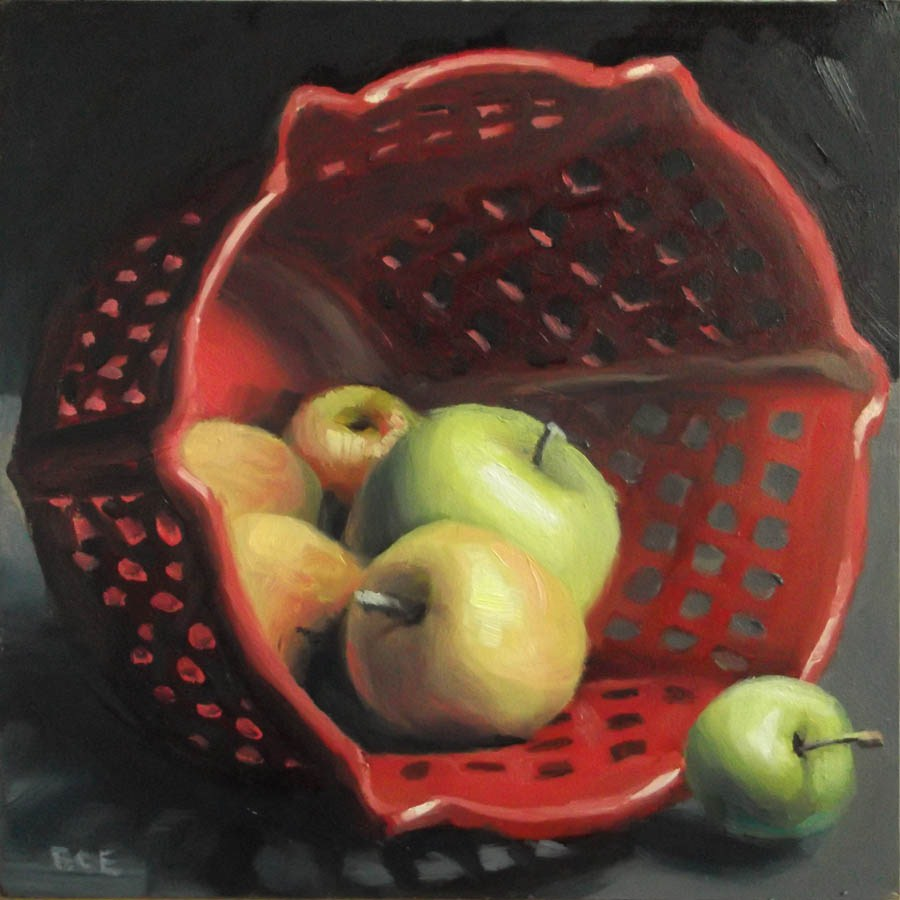 """Crab Apples in Flower Pot"" original fine art by Karen Boe"