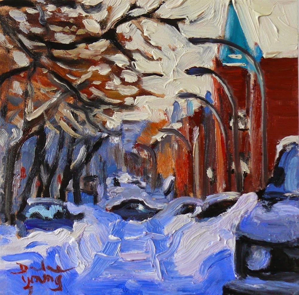 """808 Montreal Winter Le Plateau, 6x6, oil"" original fine art by Darlene Young"
