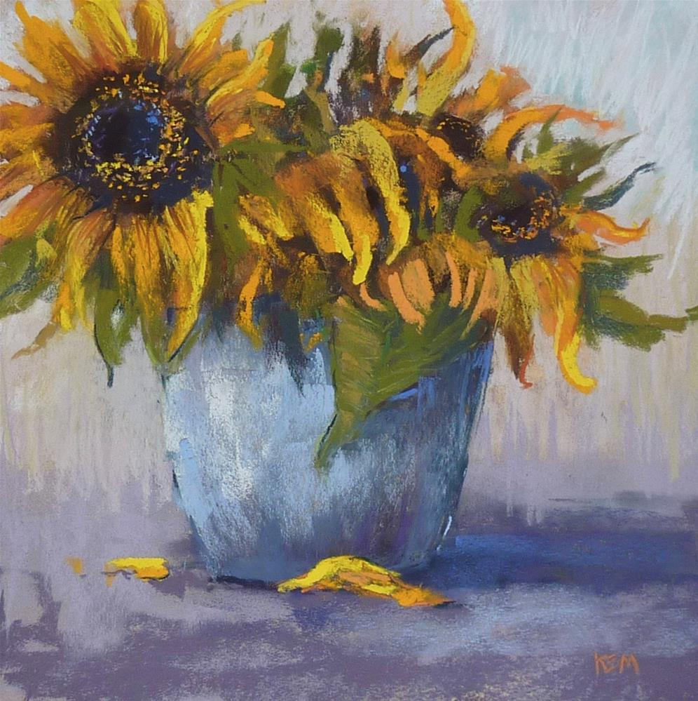 """""""Back to the Easel with Sunflowers!"""" original fine art by Karen Margulis"""