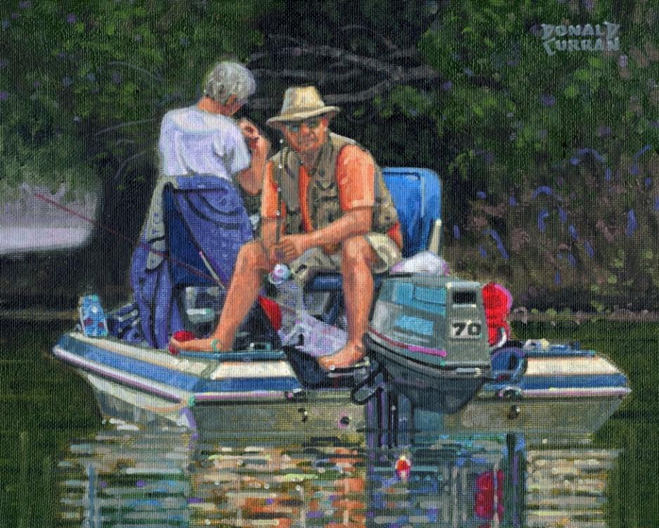 """Fishin'"" original fine art by Donald Curran"