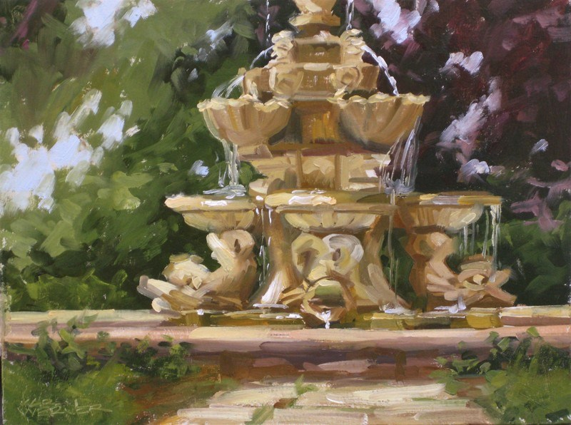 """""""Come To The Fountain"""" original fine art by Karen Werner"""
