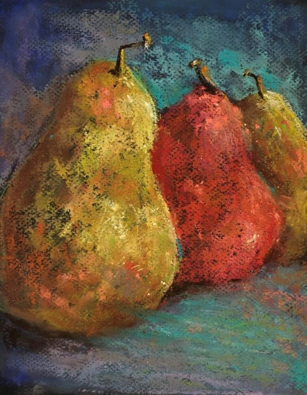 """""""Pastel painting pears red green fruit kitchen art"""" original fine art by Alice Harpel"""