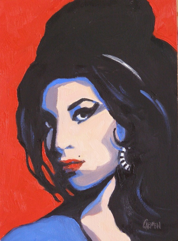 """Amy Winehouse, 8x6 Oil on Canvas Panel"" original fine art by Carmen Beecher"