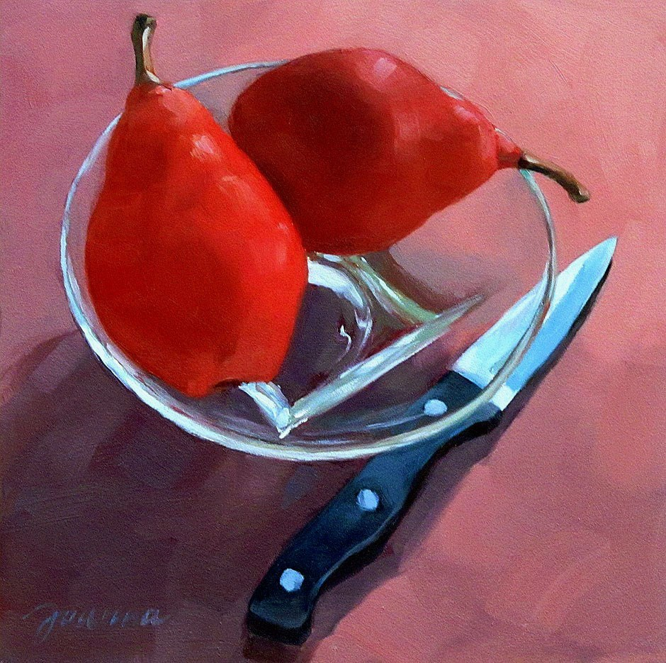 """""""Still Life with Two Red Pears"""" original fine art by Joanna Bingham"""