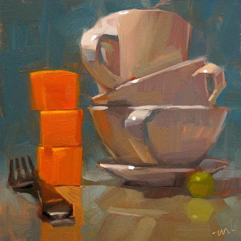 """Competing with Cheddar"" original fine art by Carol Marine"