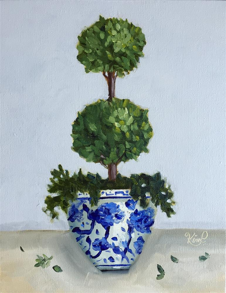"""""""Topiary II in Blue and White Pot"""" original fine art by Kim Peterson"""