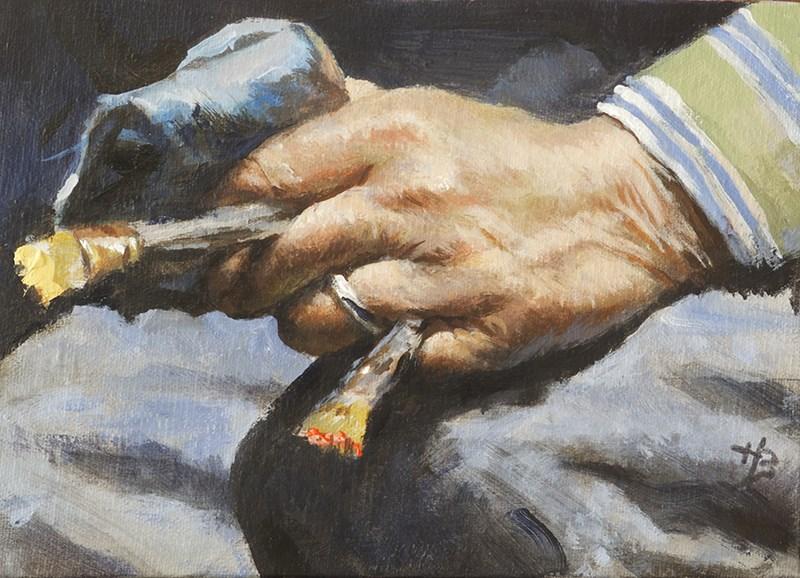 """Max Ginsburg hand"" original fine art by Harry Burman"
