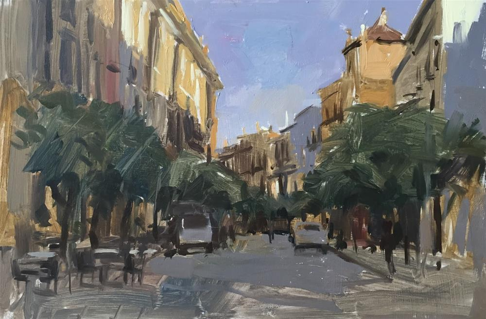 """Evening street study, Seville"" original fine art by Haidee-Jo Summers ROI"