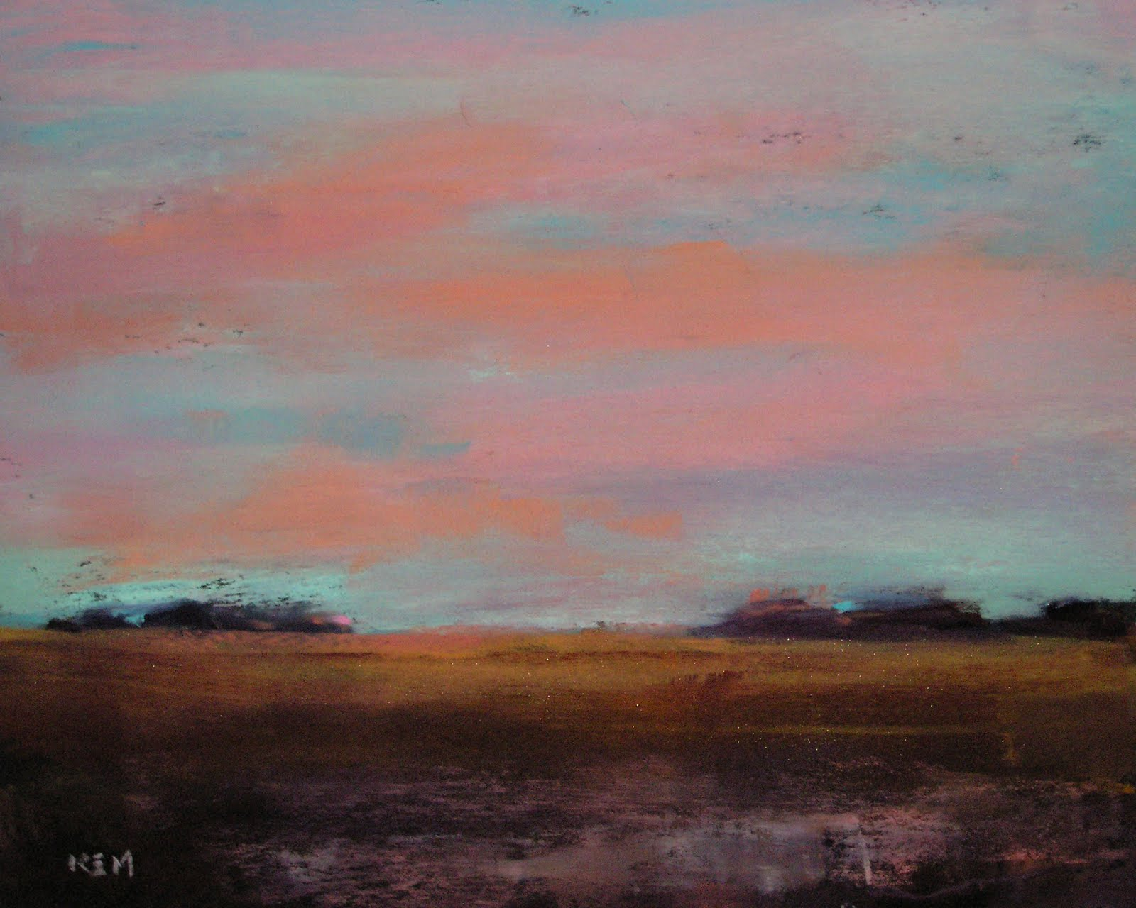 """Sunset over the Marsh  8x10     pastel"" original fine art by Karen Margulis"
