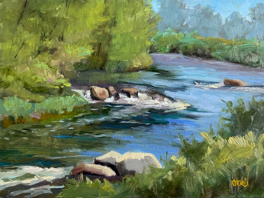 """Sunlit Riverrocks"" original fine art by Andrea Jeris"