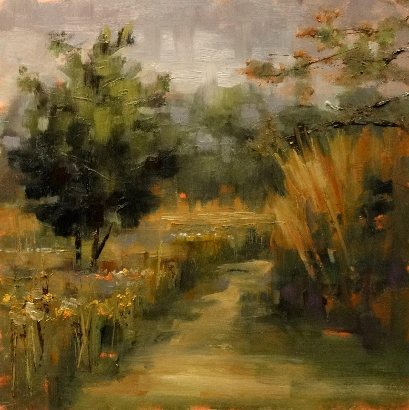 """Rain in the Woods, 8x8"" original fine art by Ann Feldman"