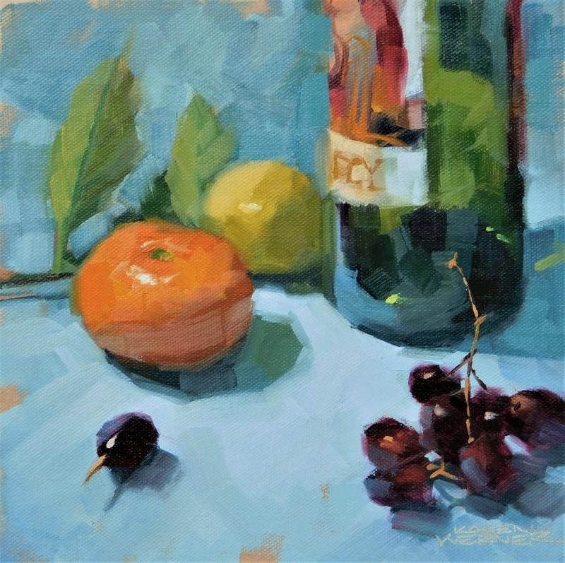 """Demo On Blue"" original fine art by Karen Werner"