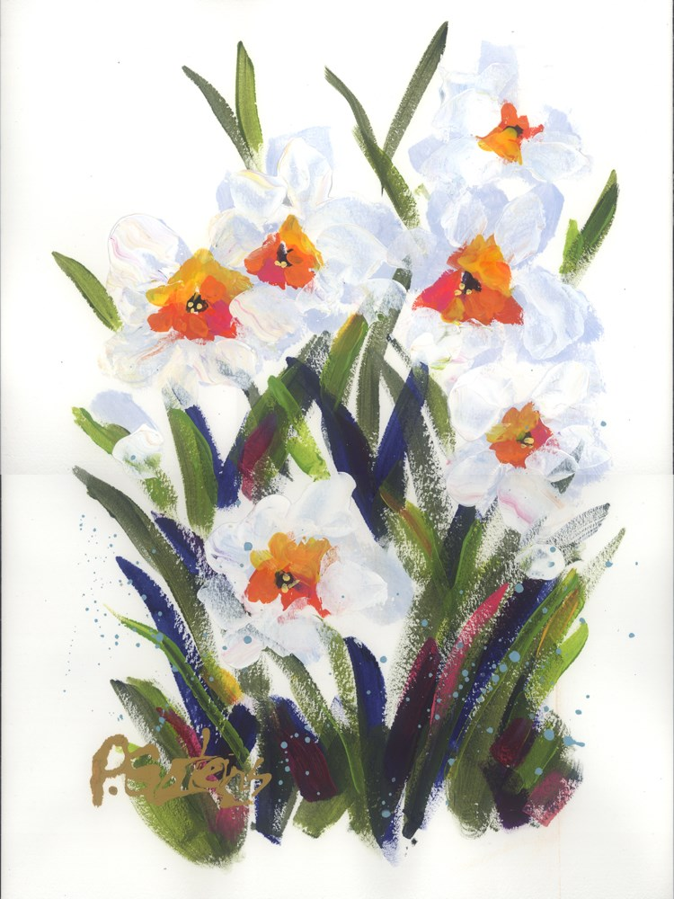 """Paper White Daffodils"" original fine art by Pamela Gatens"