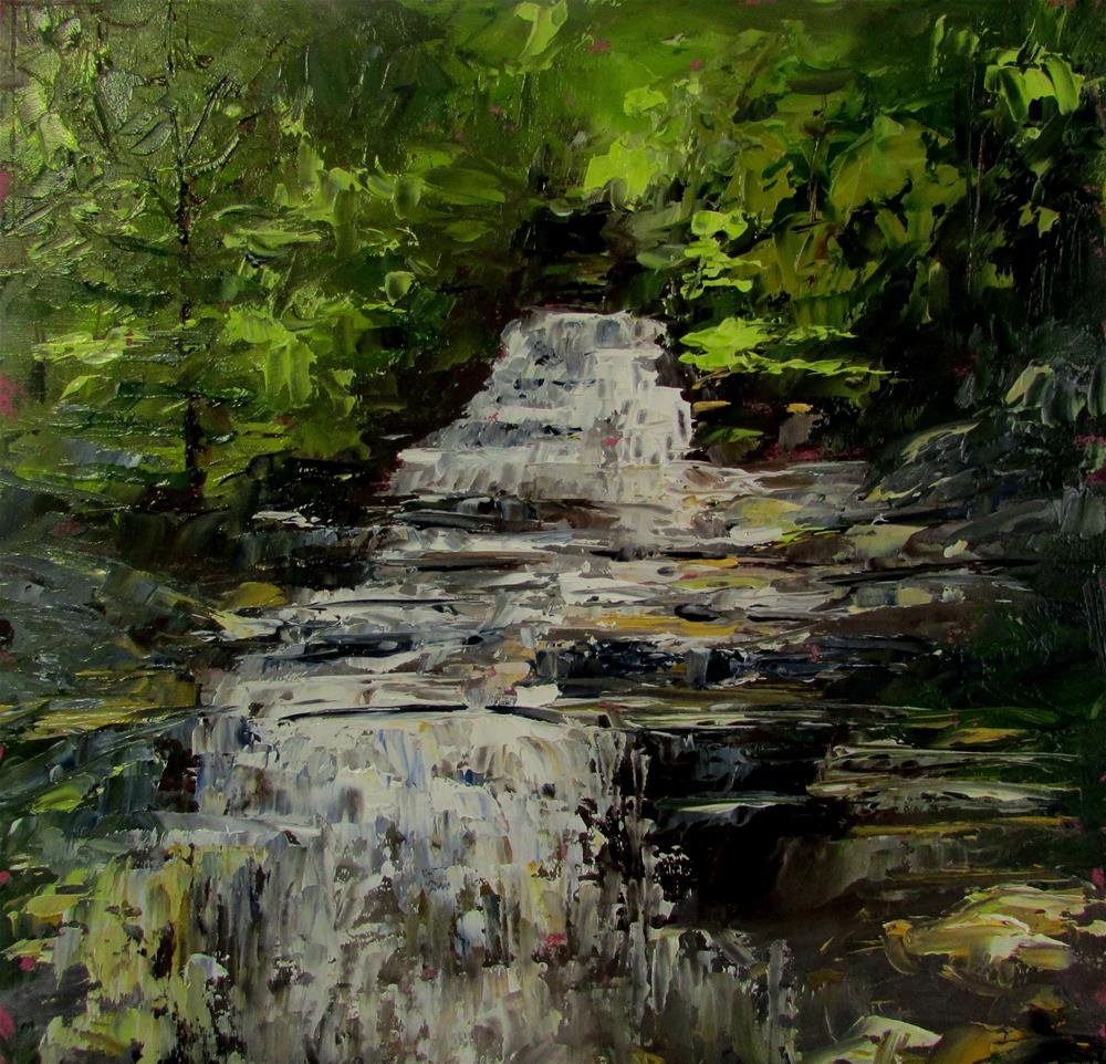 """8 x 8 inch oil Waterfall"" original fine art by Linda Yurgensen"