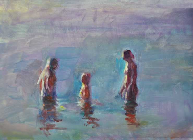"""Family in Late Water Glow"" original fine art by Sharon Savitz"
