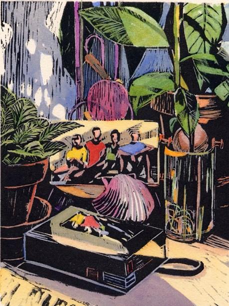 """Woodcut: Avocado Pit Still Life"" original fine art by Belinda Del Pesco"