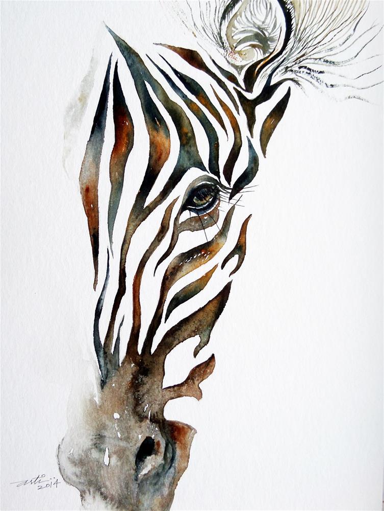 """Illusion_Zebra Portrait"" original fine art by Arti Chauhan"