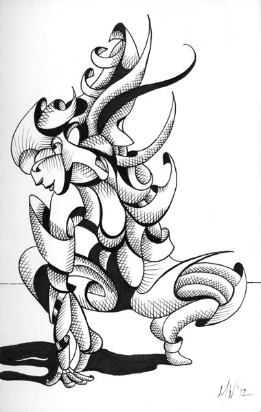 """Mark Webster - Lexi - Abstract Geometric Futurist Figurative Ink Drawing"" original fine art by Mark Webster"