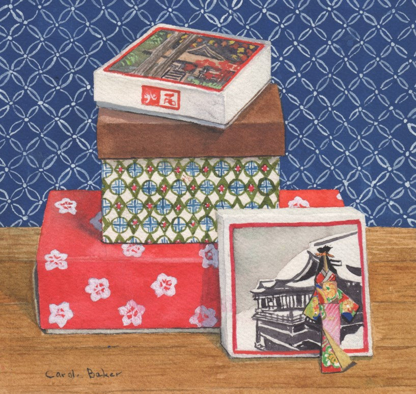 """Japanese Boxes"" original fine art by Carole Baker"