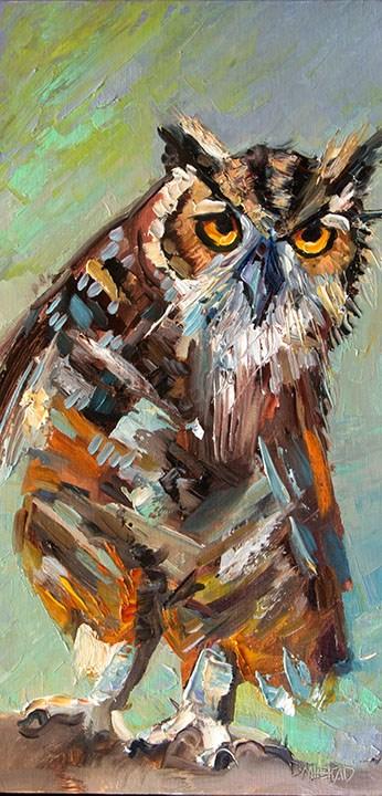 """Artoutwest Owl Bird Animal Wildlife Contemporary Original Oil Painting by Western and Wildlife Artis"" original fine art by Diane Whitehead"