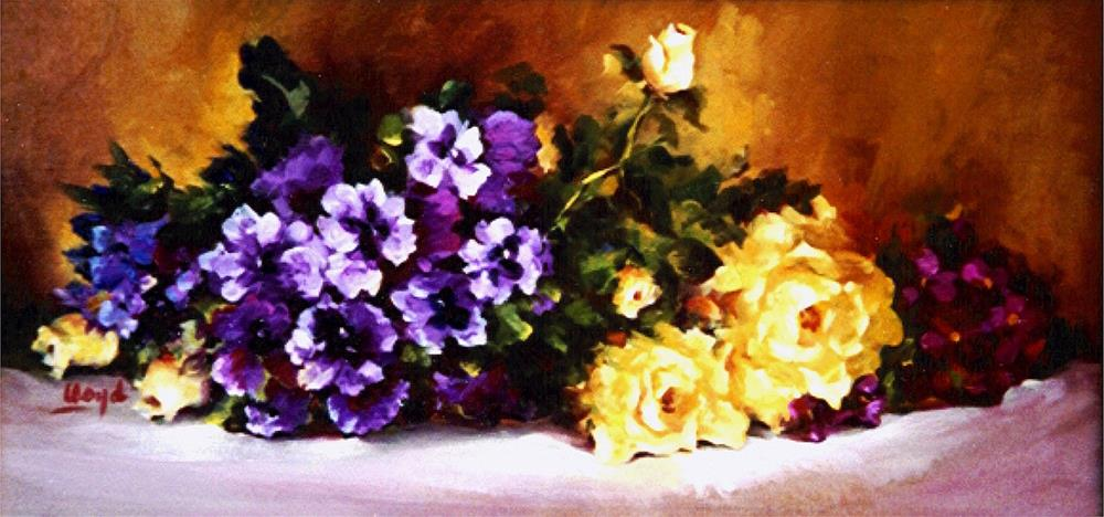 """Pansies and Roses"" original fine art by Diane Lloyd"