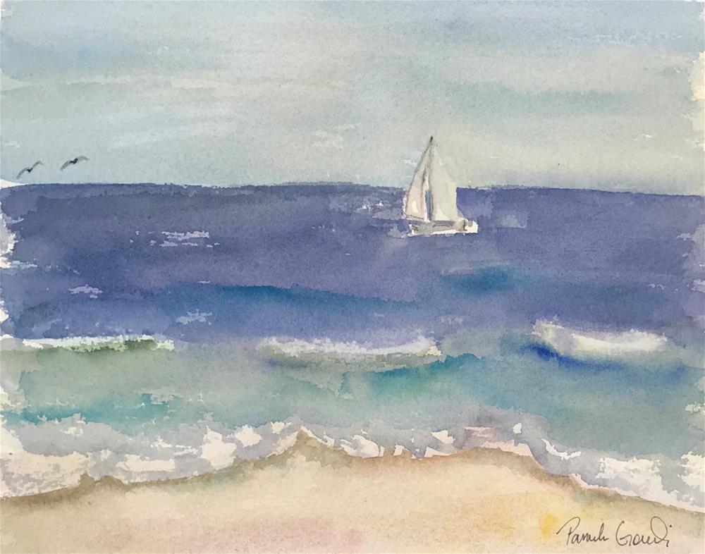 """Summer Sailboat, Redondo Beach, CA"" original fine art by Pamela Gorecki"