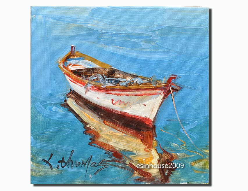 """""""A boat The ship sailing Sea view Original oil Painting on canvas panel"""" original fine art by Thomas Xie"""