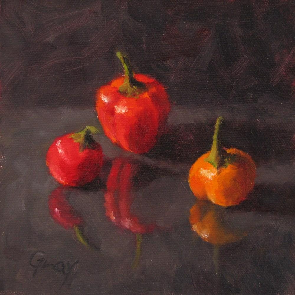 """""""Peppers in Black No.4 -- Three Amigos"""" original fine art by Naomi Gray"""