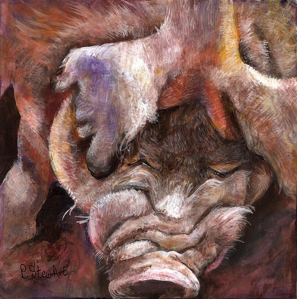 """6x6 Acrylic on wood Big Red a Pig art Painting Original OOAK a really big Hog"" original fine art by Penny Lee StewArt"