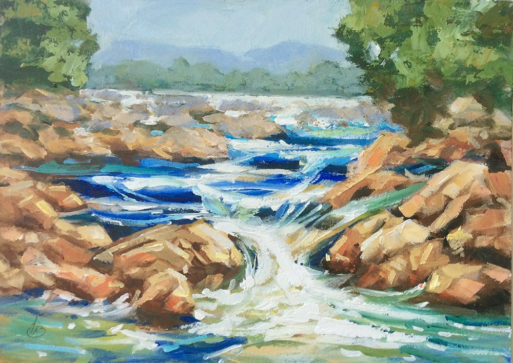 """MOUNTAIN STREAM & WATERFALL"" original fine art by Tom Brown"