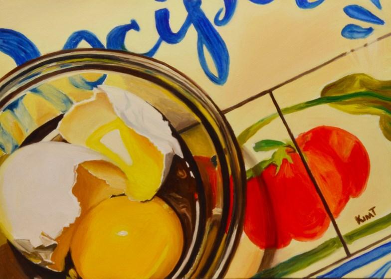 """Cracked Egg 1 (on a Recipe Book)"" original fine art by Kim Testone"