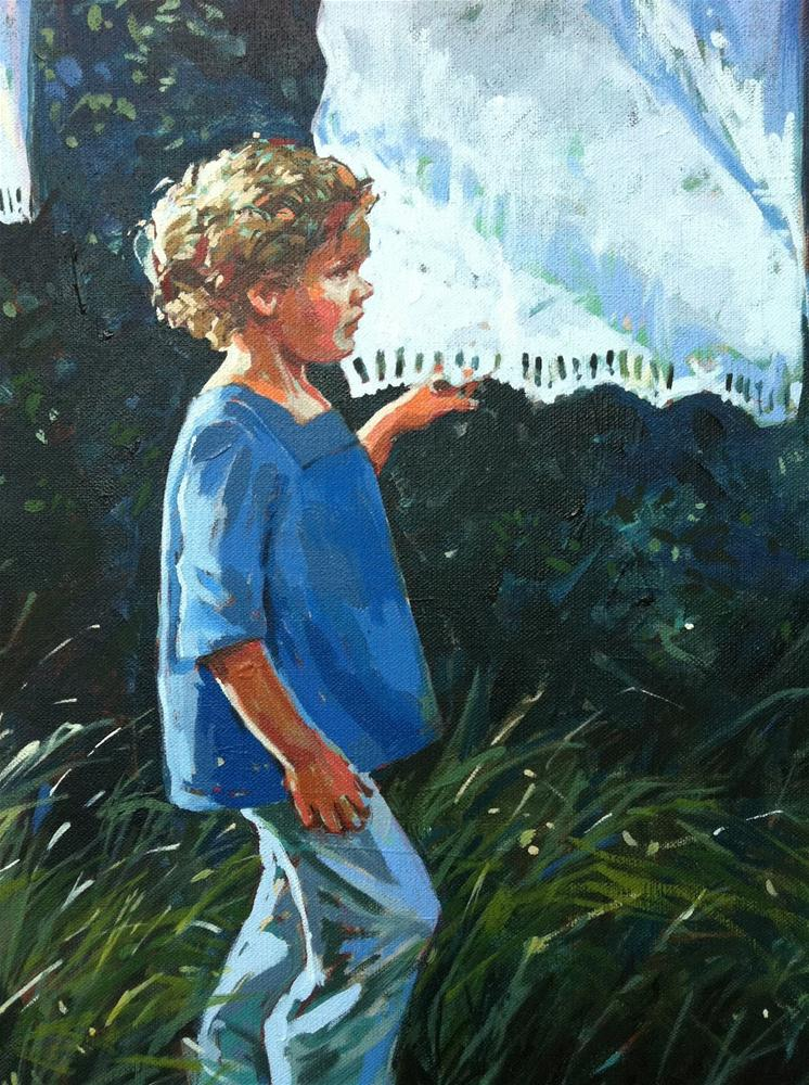 """Gracie by the washing line"" original fine art by Haidee-Jo Summers ROI"