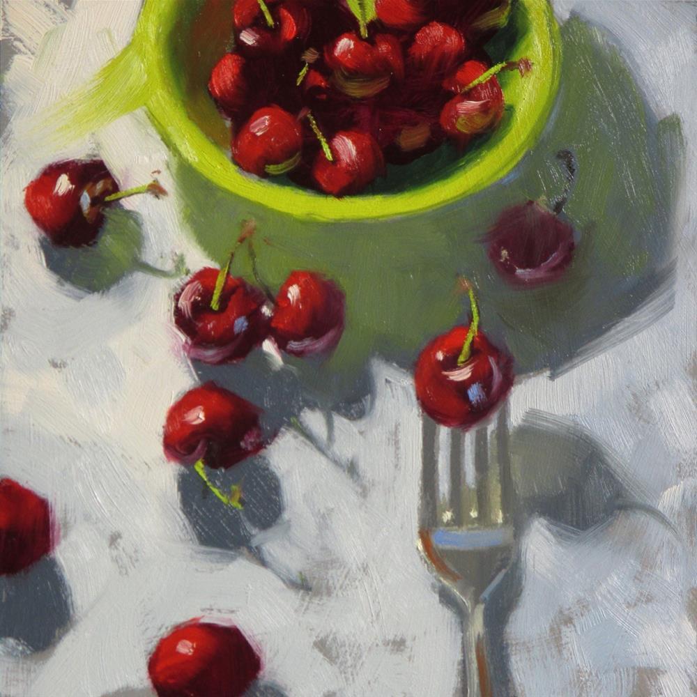 """Green bowl full of cherries  6 x 6  oil"" original fine art by Claudia Hammer"