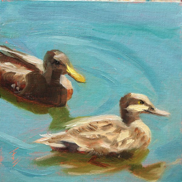 """Duck Dating"" original fine art by Jane Frederick"