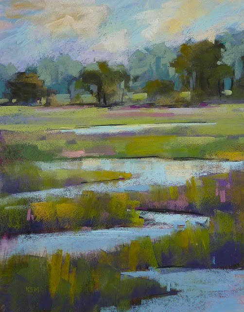 """How to Recycle an Old Painting...Green Marsh"" original fine art by Karen Margulis"