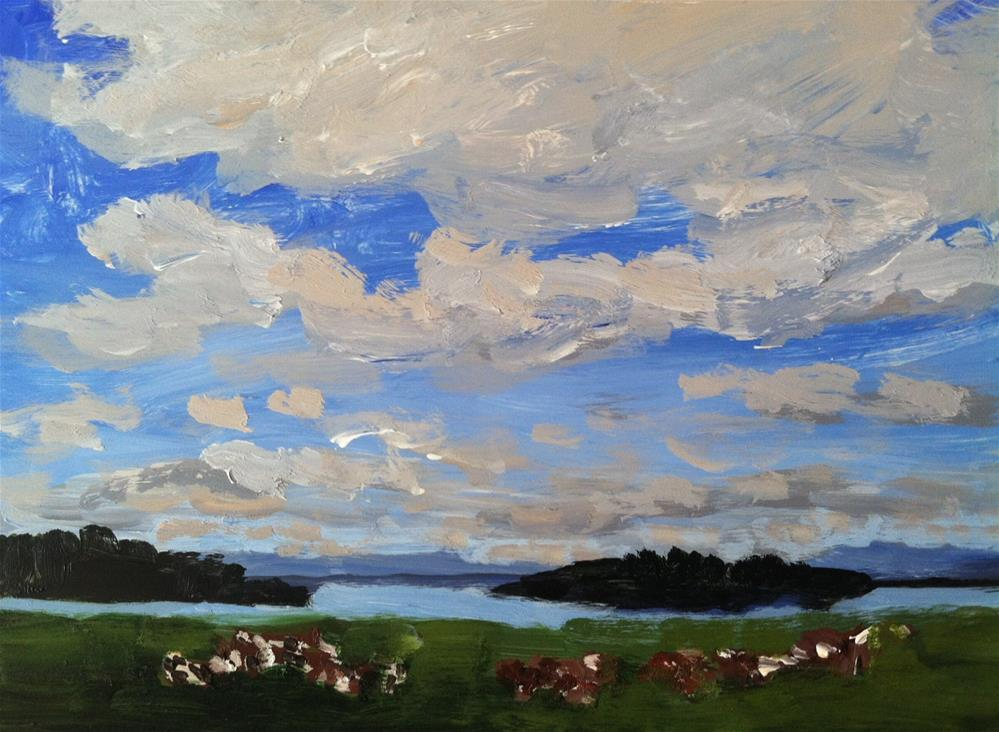 """cows in landscape"" original fine art by Christine Parker"