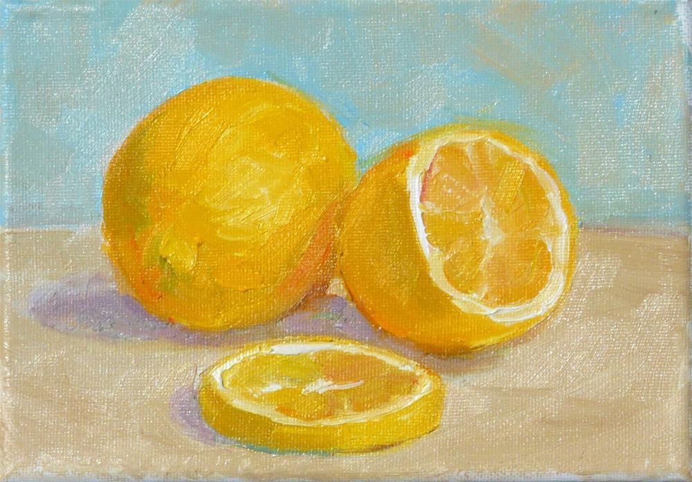 """Lemons on Table, Still life,oil on canvas,5x7,price$100"" original fine art by Joy Olney"