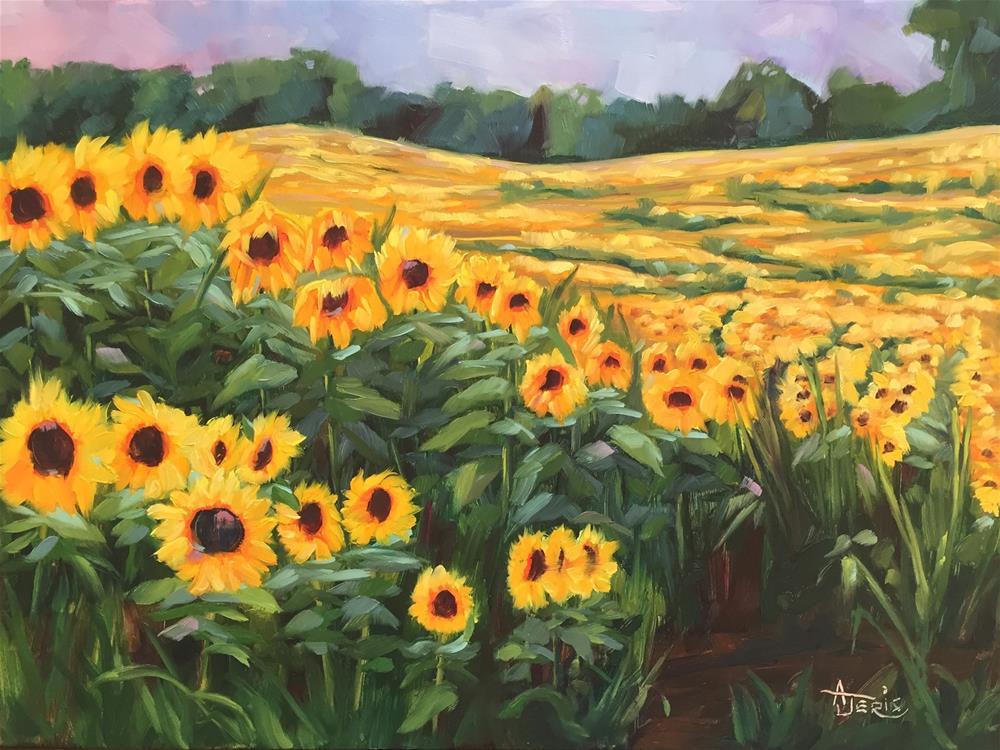 """""""Rolling Fields of Sunflowers"""" original fine art by Andrea Jeris"""
