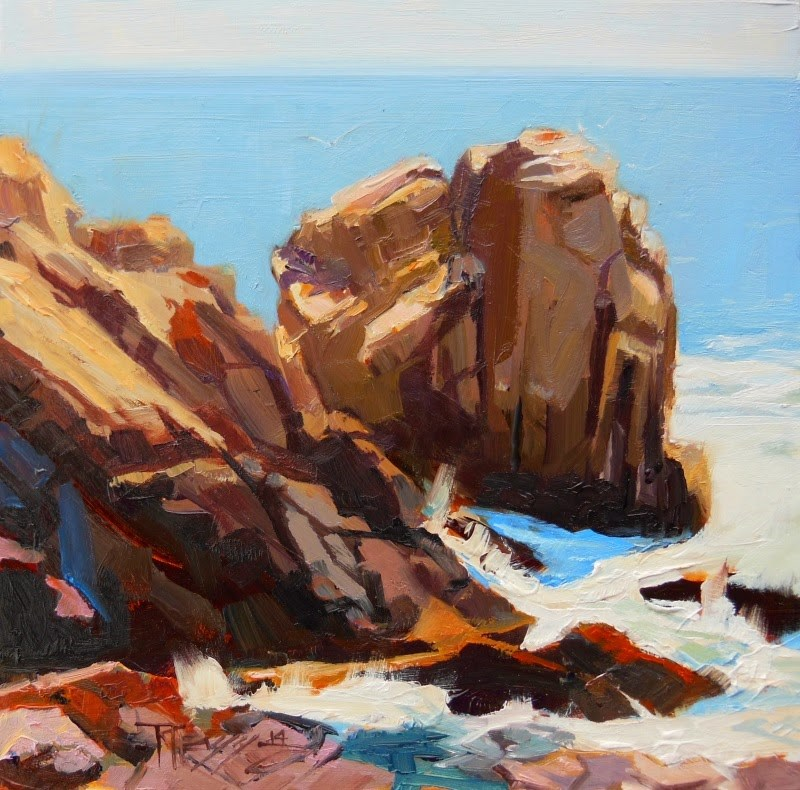 """Rocky Point Rock California, coastal, plein air painting by Robin Weiss"" original fine art by Robin Weiss"