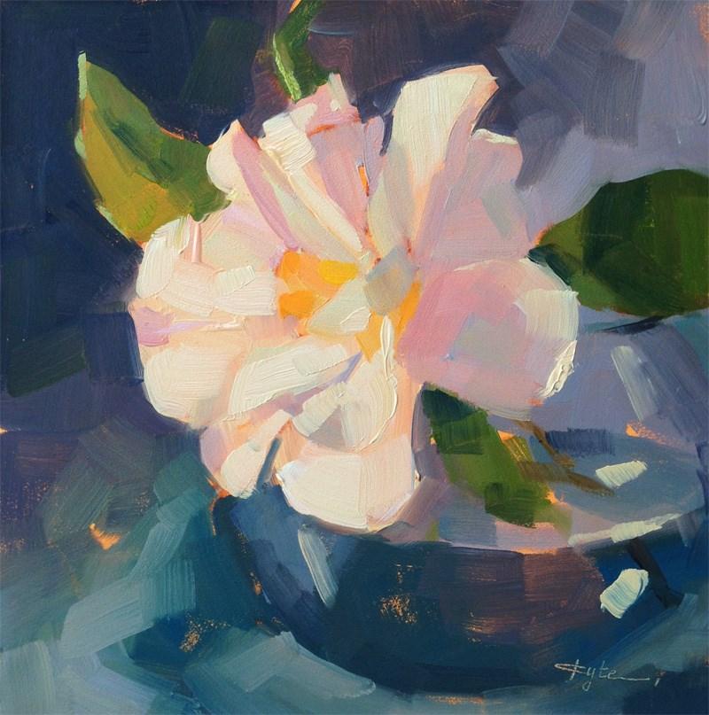 """White Camellia"" original fine art by Katia Kyte"